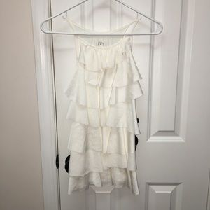 LOFT white ruffle sleeveless top